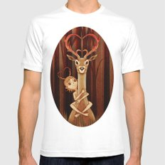 Deer MEDIUM White Mens Fitted Tee