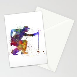man golfer crouching  silhouette Stationery Cards