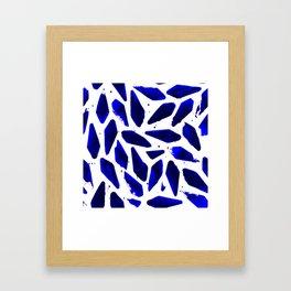 Cobalt Blue Ink Blots Framed Art Print