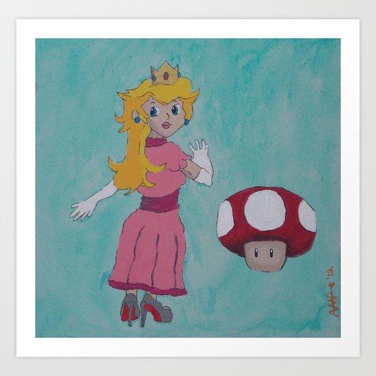 """Red Bottom"" Peach Art Print"