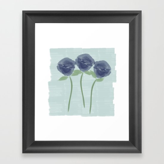 Watercolor Roses Are Blue Framed Art Print
