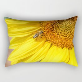 Honey Bee and Sunflower Rectangular Pillow