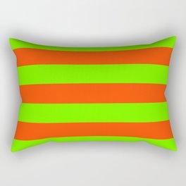 Bright Neon Green and Orange Horizontal Cabana Tent Stripes Rectangular Pillow