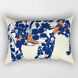 floral elephant, navy orange flowers pattern Rectangular Pillow