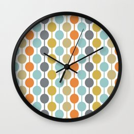 Retro Circles Mid Century Modern Background Wall Clock