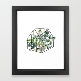 greenhouse with plants Framed Art Print
