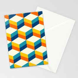Retro 3D striped cubes pattern teal & orange Stationery Cards