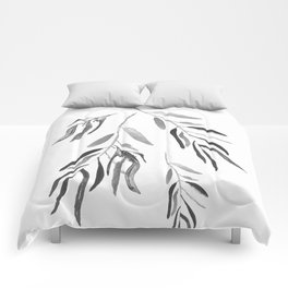 Eucalyptus Branches II Black And White Comforters
