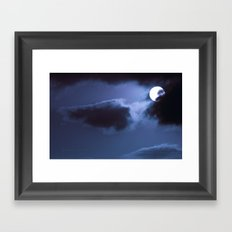 Moon Behind Cloud Framed Art Print