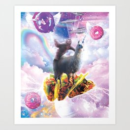 Space Sloth Riding Llama Unicorn - Taco & Donut Art Print