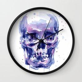 Skull Watercolor Purple Colorful Wall Clock