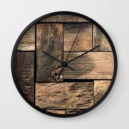 Rustic Wood Block // Tetris Jenga Vibe Real Hardwood Texture Accent Decoration Wall Clock