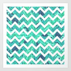 Arctic Ice Chevron Art Print