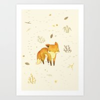 minimal Art Prints featuring Lonely Winter Fox by Teagan White