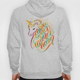 Embrace Your Inner Unicorn Hand Lettered Rainbow Design Hoody