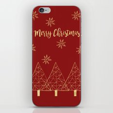 Merry Christmas Red and Gold iPhone & iPod Skin