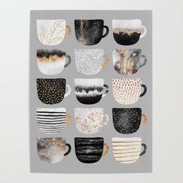 Pretty Coffe Cups 3 - Grey Poster