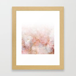 Beautiful Pink and Gold Ombre marble under snow Framed Art Print