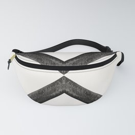 Converging Triangles Black and White Moroccan Tile Pattern Fanny Pack