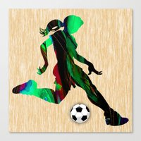 soccer Canvas Prints featuring Soccer by marvinblaine