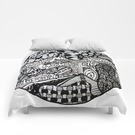 Black and White Biblical Zentangle Mandela Artwork with Colossians 3:2 Comforters