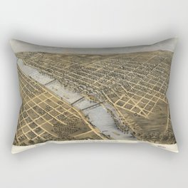 Aerial View of Grand Rapids, Michigan (1868) Rectangular Pillow