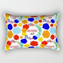 QUEER AF - A Rainbow Floral Pattern Rectangular Pillow