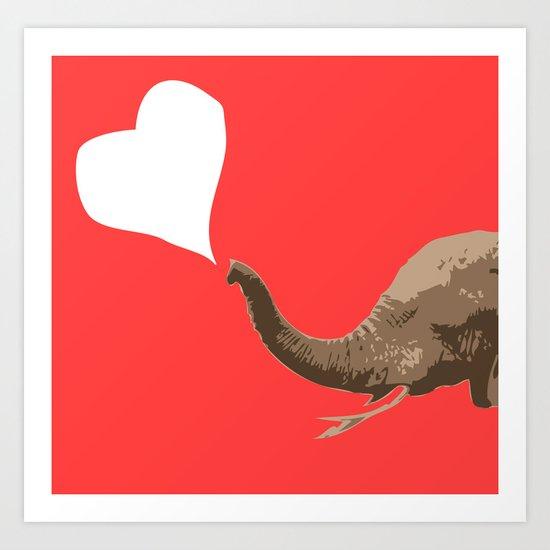 Elephant Pink Love Art Print