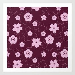 Sakura blossom - burgundy Art Print