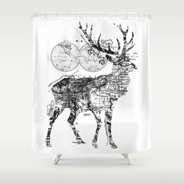 Deer Wanderlust Black and White Shower Curtain