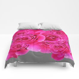 AWESOME FUCHSIA PINK ROSES  GREY PATTERN Comforters
