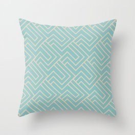 Aqua and Beige Minimal Line Art Pattern 2 2021 Color of the Year Aqua Fiesta and Sourdough Throw Pillow