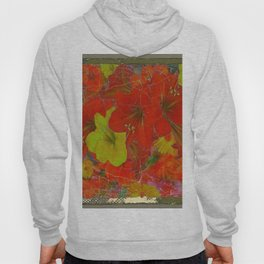 GRUNGY ANTIQUE RED FLORAL STILL LIFE BOUQUET Hoody