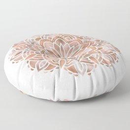Mandala Rose Gold Flower Floor Pillow