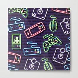 Neon Video Game Accessories Pattern Metal Print