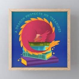 A Dragon Protects His Treasure blue version Framed Mini Art Print