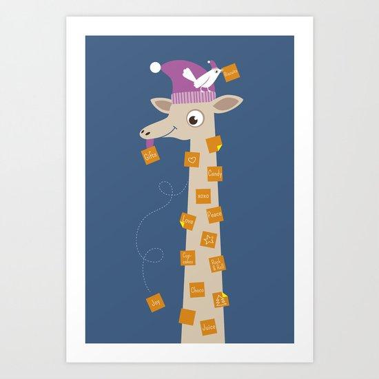 Note Giraffe Art Print
