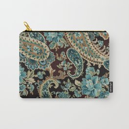 Brown Turquoise Paisley Carry-All Pouch