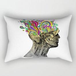 Bright neon pink yellow abstract anatomical skull Rectangular Pillow