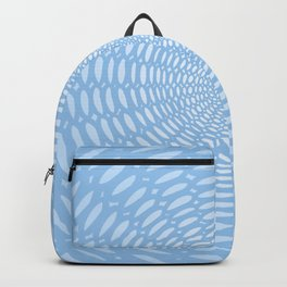Futuristic Detailed Mandala (Blue White) Different Unique Pattern Backpack