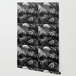 Tropical Botanic Jungle Garden Palm Leaf Black White Wallpaper