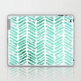 Handpainted Chevron pattern - light green and aqua - stripes Laptop & iPad Skin