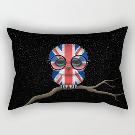 Baby Owl with Glasses and the Union Jack British Flag Rectangular Pillow