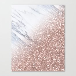Blush Pink Sparkles on White and Gray Marble V Canvas Print