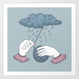 Waiting (for the rain to stop falling) Art Print