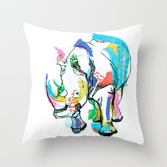 Rhino colour Throw Pillow