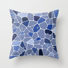 Blue tile mosaic diagonal stripes water illustration Throw Pillow