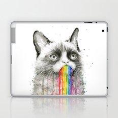 Grumpy Rainbow Cat Watercolor Animal Meme Geek Art Laptop & iPad Skin