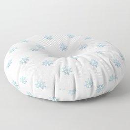 Blue Glitter Snowflake Floor Pillow