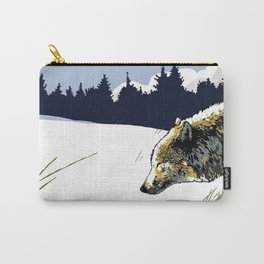 Art print: The northern wolf, walking in the snow Carry-All Pouch